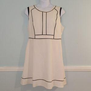White & Black Career Dress Plus Size 16